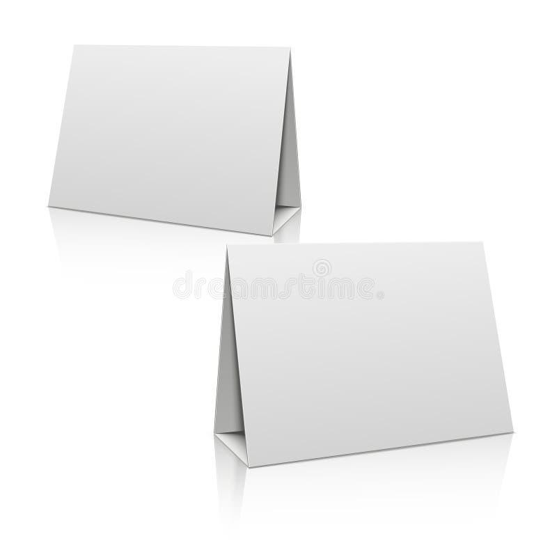 Pusta białego papieru stojaka stołu właściciela karta 3D projekta wektorowy szablon royalty ilustracja