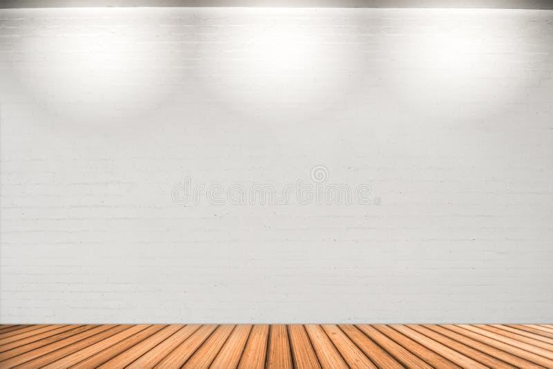 Pusta biel ściana z 3 punktów światłami i drewnianą podłoga obrazy stock