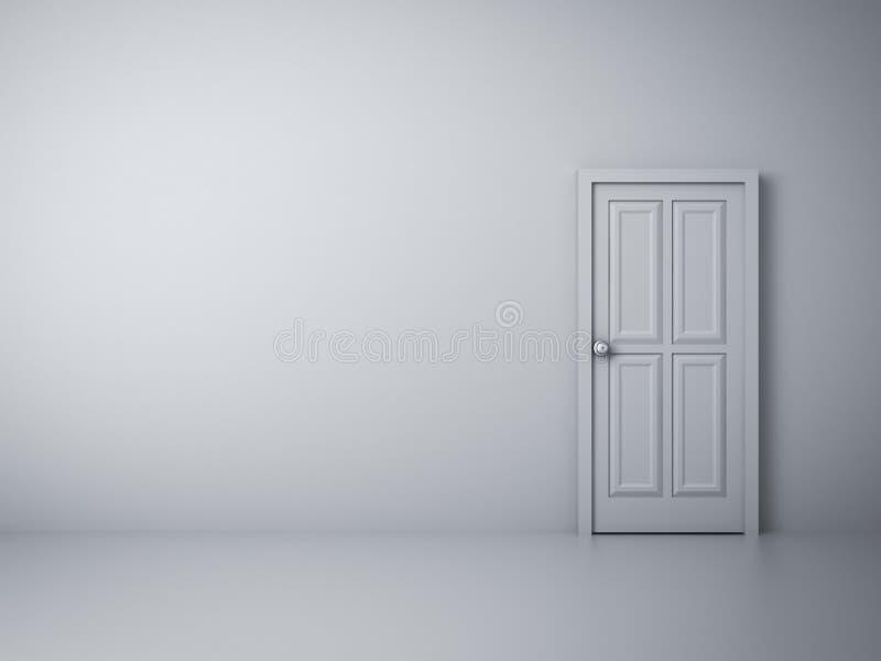 Pusta biel ściana z zamkniętym drzwi royalty ilustracja