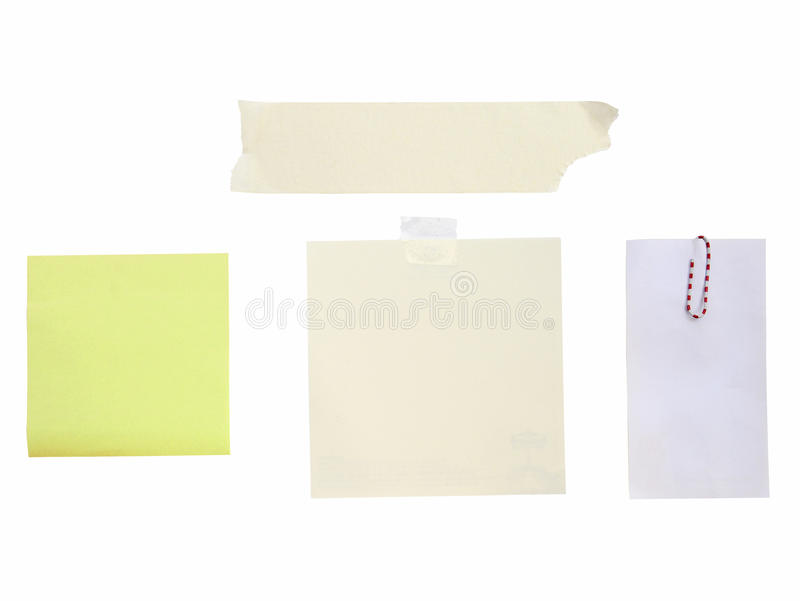Pusta biel notatka z papierową klamerką i taśma odizolowywamy na bielu (ścinek ścieżka) obraz royalty free