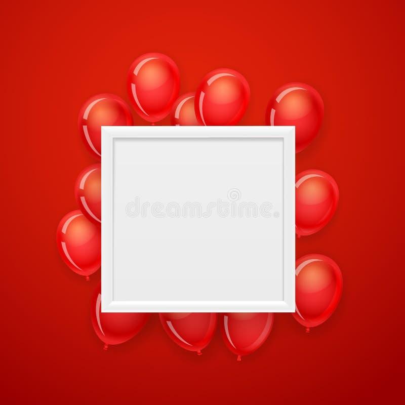 Pusta biel rama na ścianie z latającymi czerwonymi balonami Wektorowa bolączka ilustracji