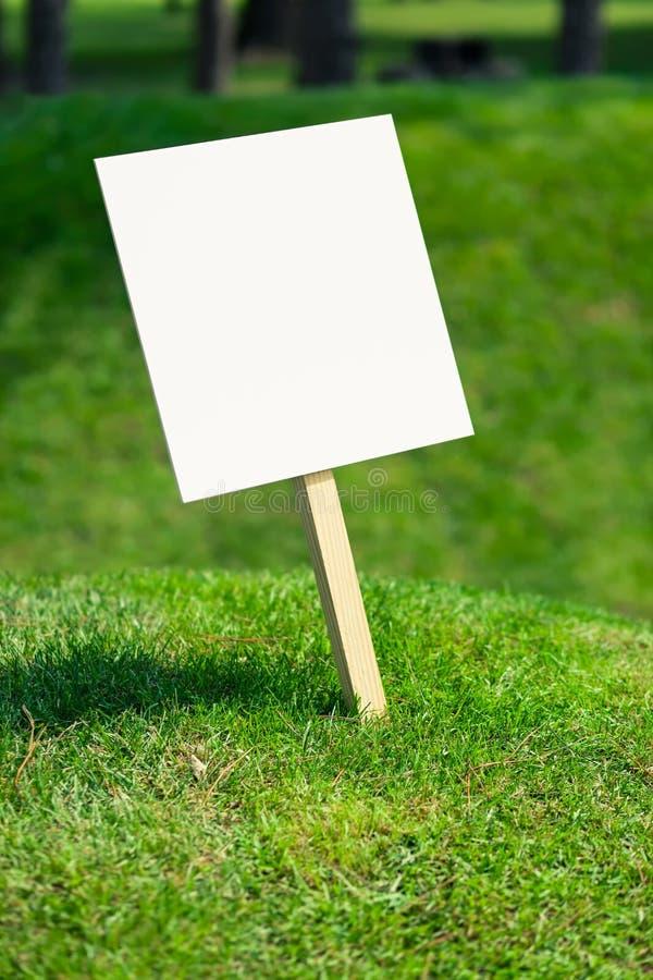 Pusta bielu znaka deska na małym wzgórzu z świeżo ciącą zieloną trawą zdjęcia royalty free