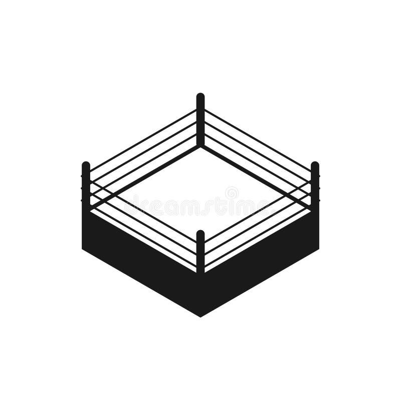 Pusta bokserskiego pierścionku sylwetki ikona ilustracji