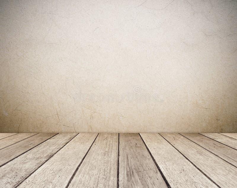 Pusta brązu cementu ściana i rocznika drewniany podłogowy pokój w perspektywicznym widoku, grunge tło, wewnętrzny projekt, produk ilustracja wektor