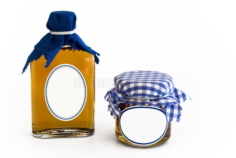 pusta butelki szkła domowej roboty dżemu etykietka zdjęcia royalty free