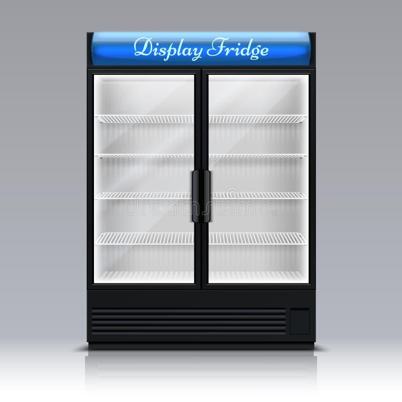 Pusta chłodnia dla napojów z szklanym drzwi Supermarketa fridge 3d wektoru karmowa ilustracja ilustracji