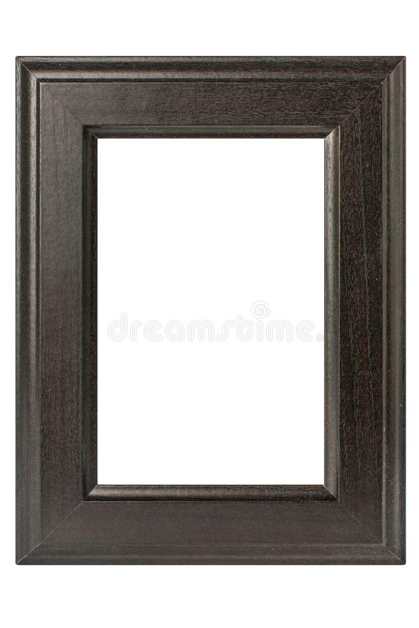 Pusta ciemna drewniana fotografii rama odizolowywająca na białym tle zdjęcia stock