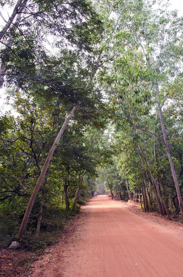Pusta czerwona żwir droga w Auroville, India obrazy royalty free