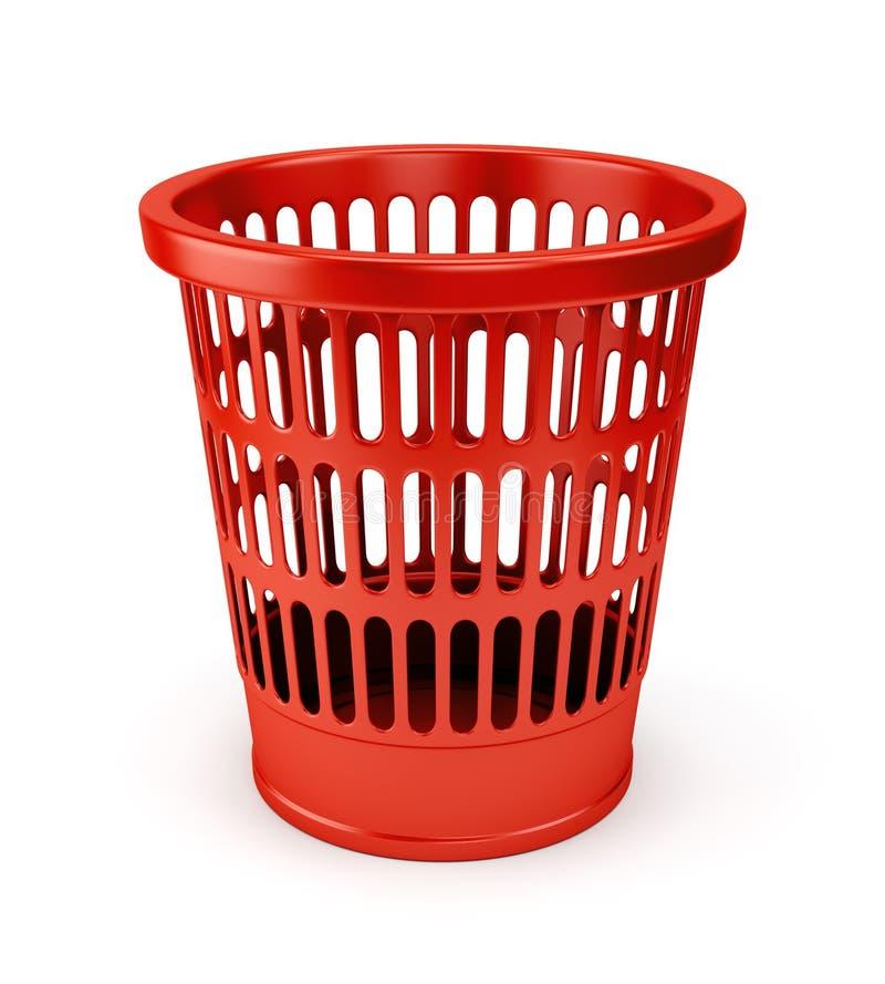 Pusta czerwona wastebasket ikona royalty ilustracja