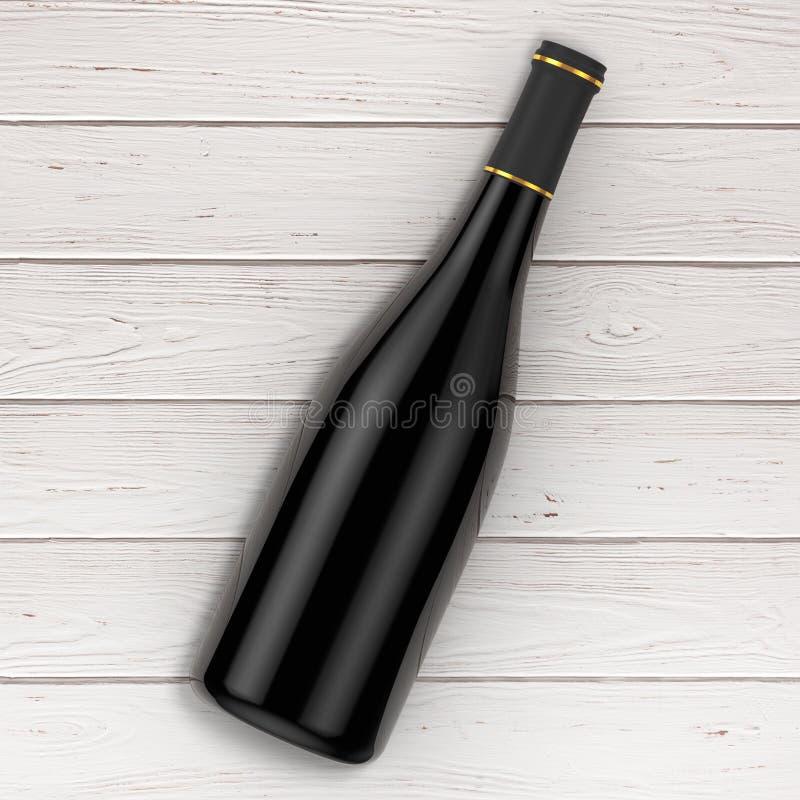 Pusta czerwone wino butelka z Bezpłatną przestrzenią dla Waszych Projektuje nad tabl ilustracja wektor