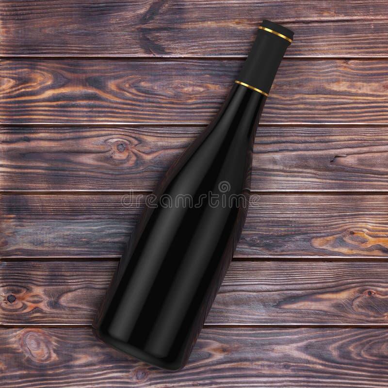 Pusta czerwone wino butelka z Bezpłatną przestrzenią dla Waszych Projektuje nad tabl royalty ilustracja