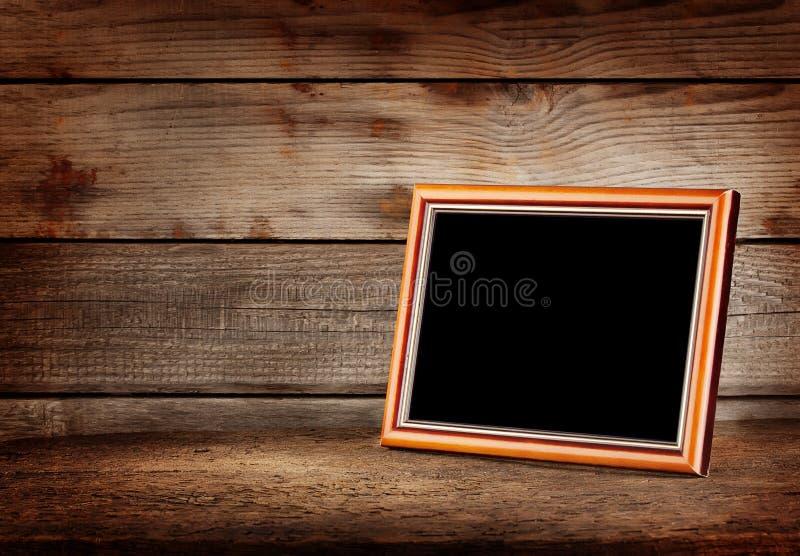 Pusta drewniana obrazek rama obrazy stock
