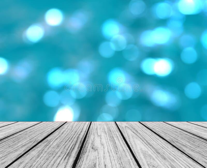 Pusta Drewniana Perspektywiczna platforma z Iskrzastym Abstrakcjonistycznym Kolorowym Round światłem Bokeh Okrąża tło używać jako zdjęcie stock