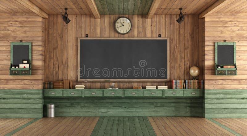 Pusta drewniana sala lekcyjna w retro stylu royalty ilustracja