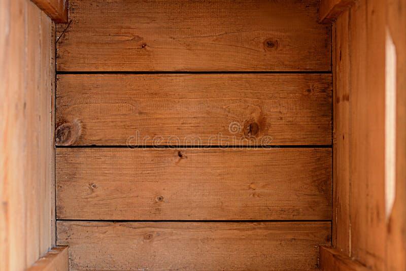 - pusta drewniana skrzynka odgórny widok lub pudełko () obraz stock