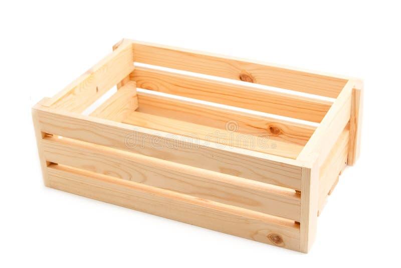 Pusta drewniana skrzynka odizolowywająca na bielu zdjęcia stock