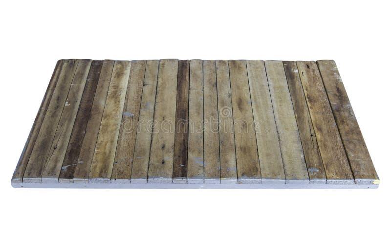Pusta drewniana stołowa platforma odizolowywająca na białym tle obrazy royalty free