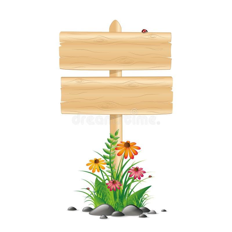 Pusta drewniana znak deska z kolorowymi kwiatami i trawą na białym tle ilustracja wektor