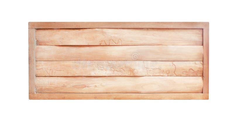 Pusta drewno znaka tekstura w horyzontalnych naturalnych wzorach odizolowywających na białym tle z ścinek ścieżką zdjęcia stock