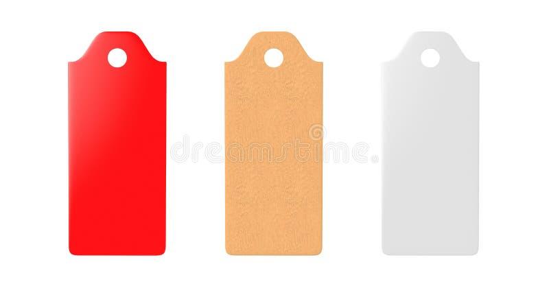 Pusta etykietka wiążąca metka, prezent etykietka, sprzedaży etykietka, adres etykietka odizolowywająca na białym tle 3D odp?acaj? royalty ilustracja