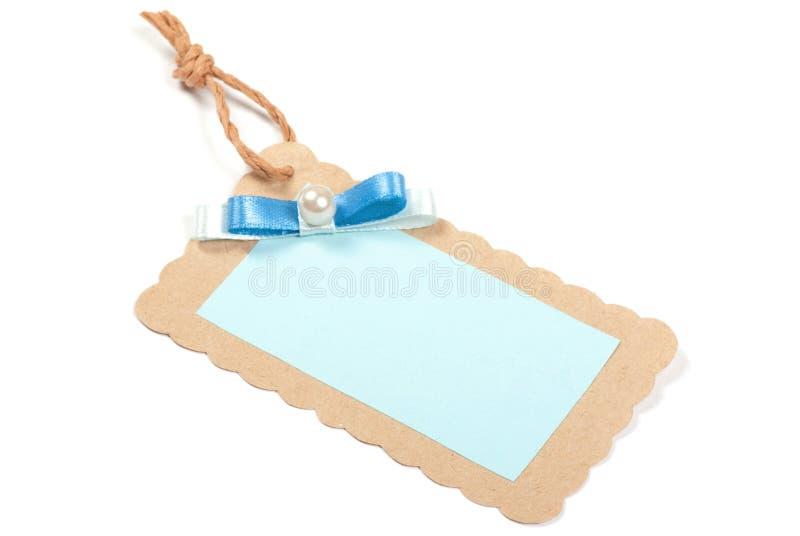 Pusta etykietka wiążąca z brąz sznurkiem. zdjęcie royalty free