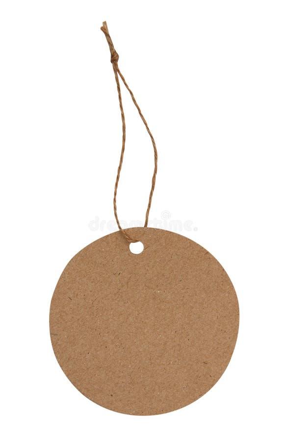 Pusta etykietka wiążąca z brązu sznurkiem zdjęcia stock