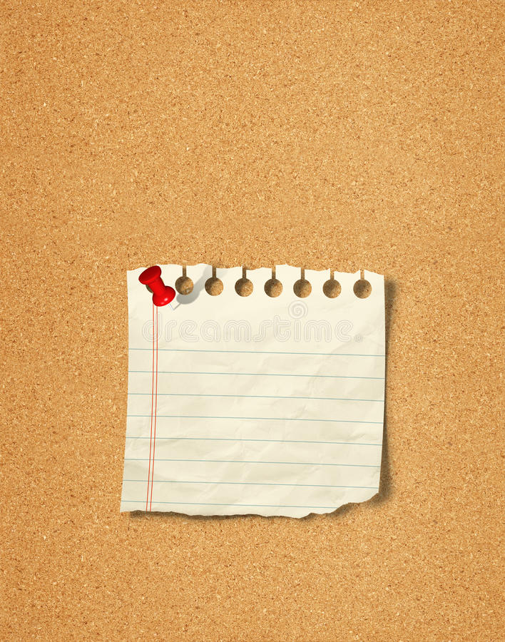 Pusta fotografia i Notepad z pchnięcie szpilką na korku wsiadamy zdjęcie royalty free