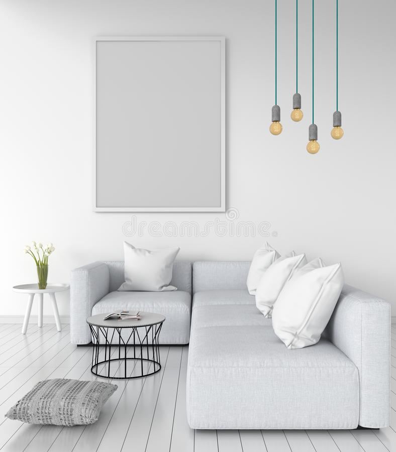 Pusta fotografii rama dla mockup na ścianie w żywym pokoju, 3D rendering ilustracja wektor