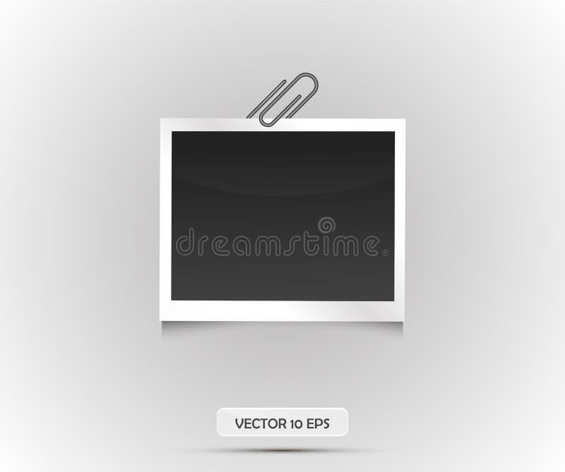 Pusta fotografii rama sticked na papierowej klamerce Wektorowa ilustracja, eps 10 ilustracyjny retro stylu wektoru rocznik Czerni ilustracji