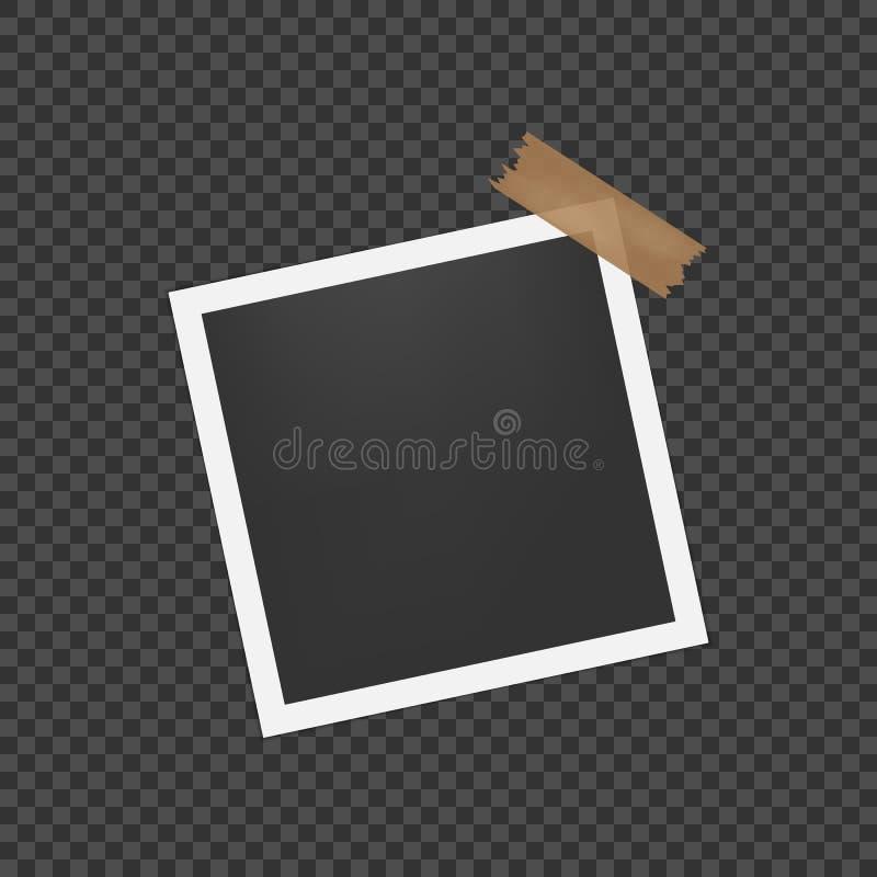Pusta fotografii rama z cieniem Pusty szablon dla fotografii i obrazka Realistyczna pusta natychmiastowa fotografii karta royalty ilustracja