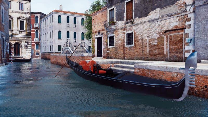 Pusta gondola na wodnym kanale w Wenecja, Włochy royalty ilustracja