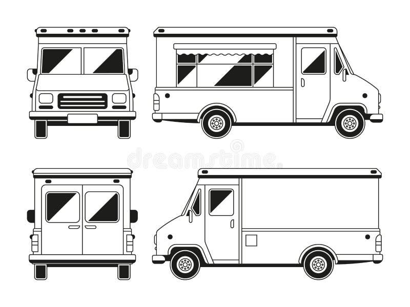 Pusta handlowa jedzenie ciężarówka w różnych punktach widzenia Konturu wektorowy szablon dla ciebie reklamuje royalty ilustracja