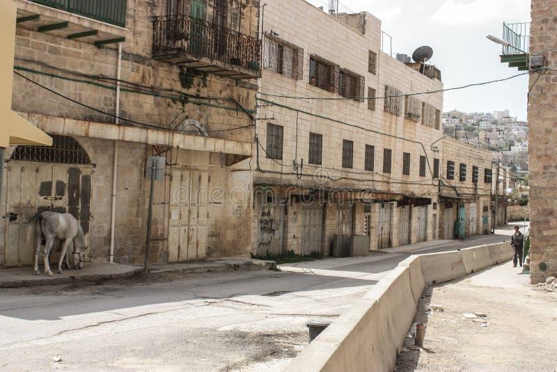 Pusta i zaniechana ulica w obsiadłym mieście Hebron obraz royalty free
