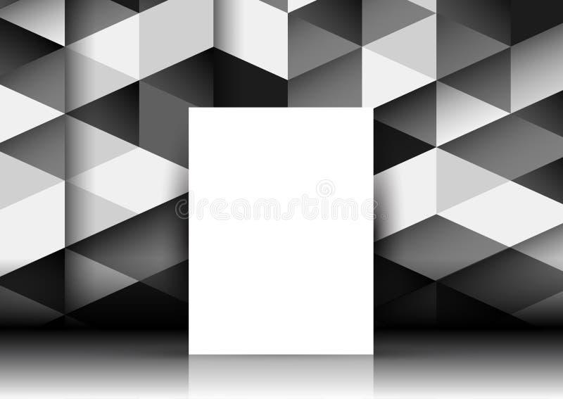 Pusta kanwa na abstrakcjonistycznej geometrycznej ścianie ilustracji