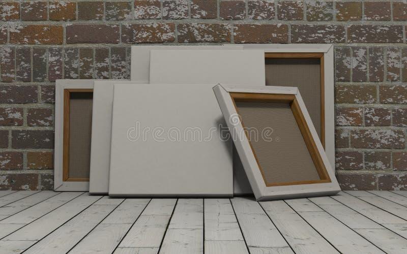 Pusta kanwa na odsłoniętym ściana z cegieł ilustracji
