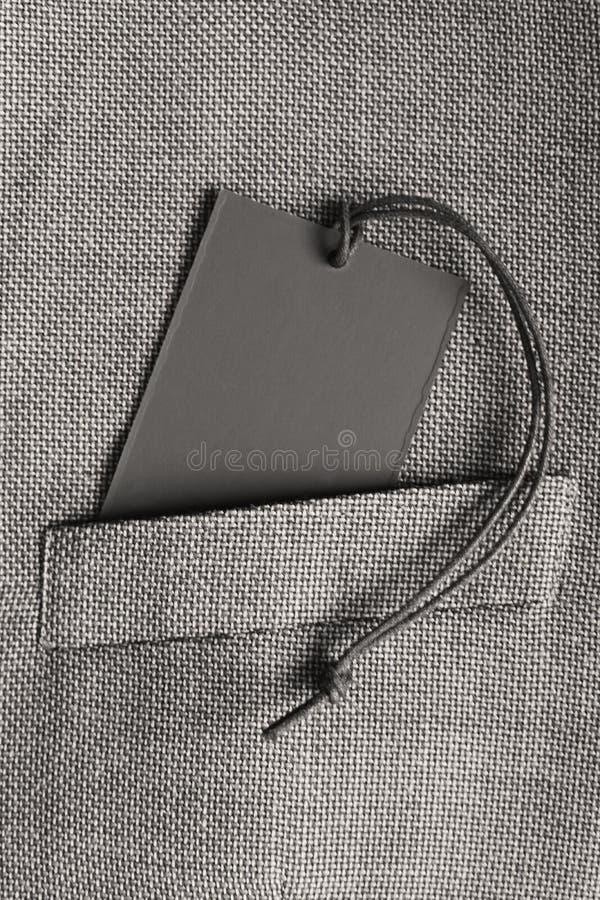 Pusta karta w kieszeni popielata kostium kurtka obrazy stock