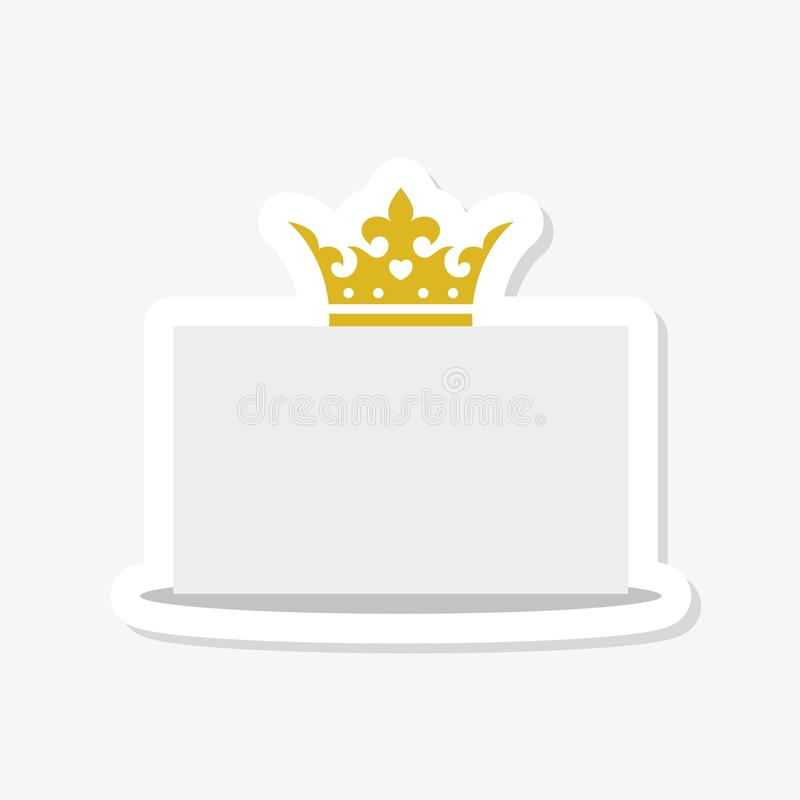 Pusta karta z złotą koroną, odosobnioną na białym tle ilustracja wektor