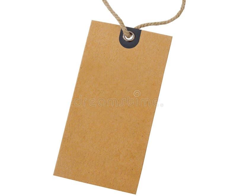 Pusta kartonowa ceny etykietka wiążąca z arkaną dla przedstawienie ceny lub rabat na produkcie odizolowywamy na białym tle fotografia royalty free
