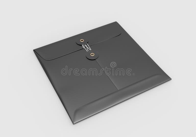 Pusta Kraft krawata guzika sznurka zamknięcia koperta dla oznakować ilustracja 3 d, ilustracja wektor