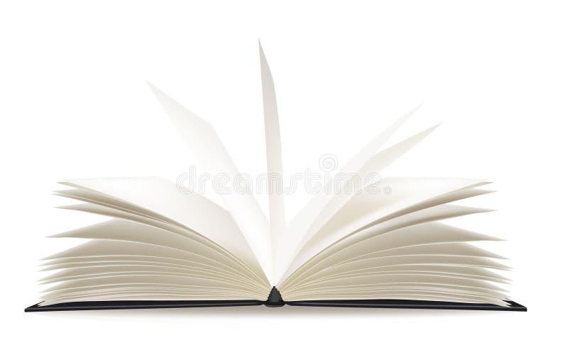 pusta książka otwierać strony vector biel royalty ilustracja