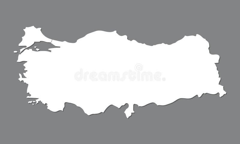 Pusta mapa Turcja Wysokiej jakości mapa Turcja z Bosporus na szarym tle ilustracji