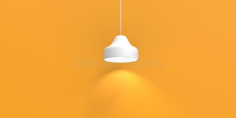 Pusta nisza dla eksponata żółtego złota białej lampy podsufitowej wiszącej ściany ilustracji
