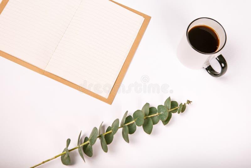 Pusta notatnik filiżanka kawy kwitnie białego tło zdjęcie royalty free