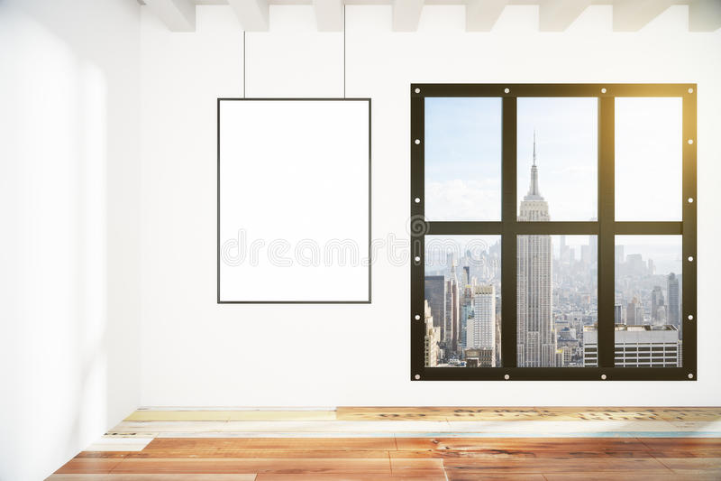Pusta obrazek rama na biel ścianie w loft pustym pokoju z miastem v ilustracja wektor