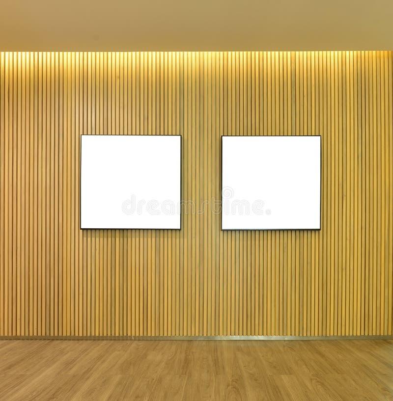 Pusta obrazek rama w drewnianej deseczki ścianie inside dom, wyśmiewa up royalty ilustracja