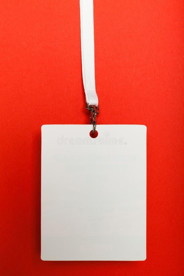 Pusta odznaka i sznur, dost?p, reklama, autoryzacja Zakulisowa karta obraz royalty free