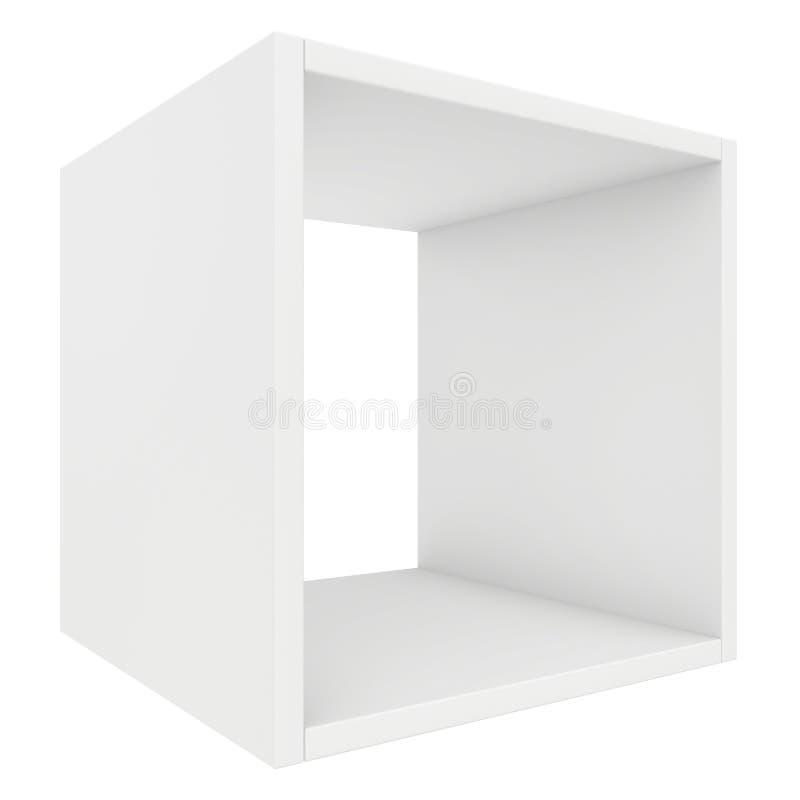 pusta półka 3d odpłacają się na białym tle royalty ilustracja