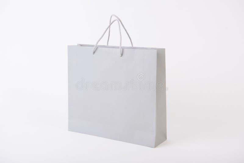 Pusta papierowa torba dla mockup szablonu oznakować i reklamy obraz royalty free