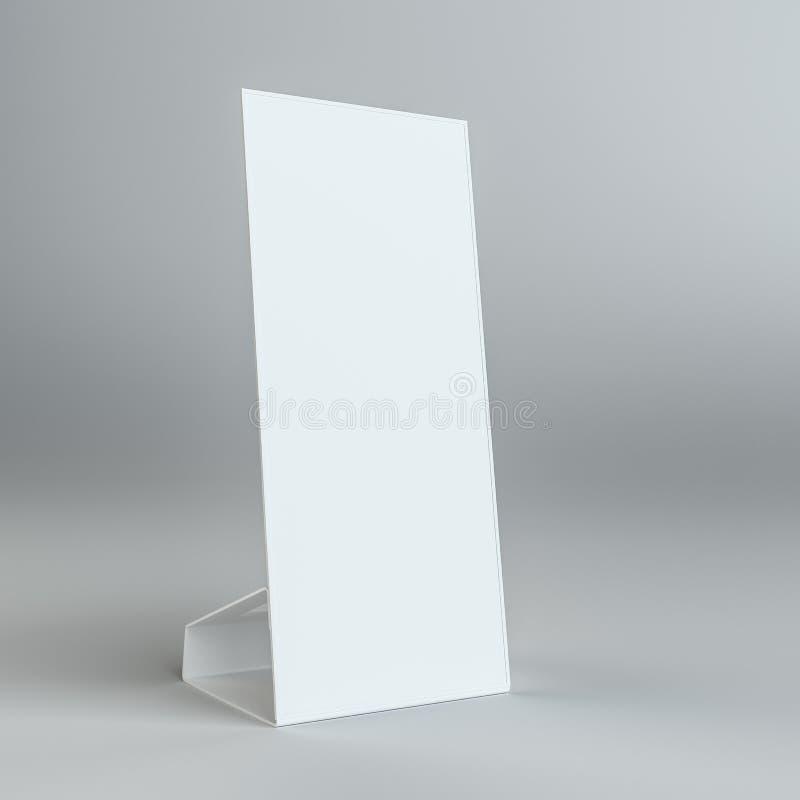 Pusta papierowego stołu karta dalej na popielatym tle ilustracja wektor