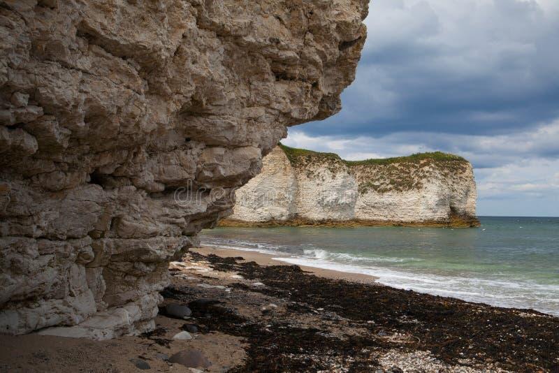 Pusta plaża na Flamborough głowie, Bridlington w Yorkshire, Engla zdjęcie royalty free